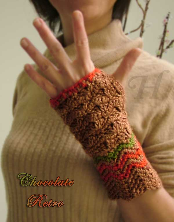 Chocolate Retro Crochet Fingerless Gloves Hand Warmers