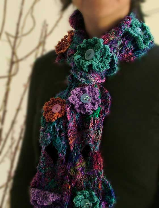 Flowering Buttons crochet scarf