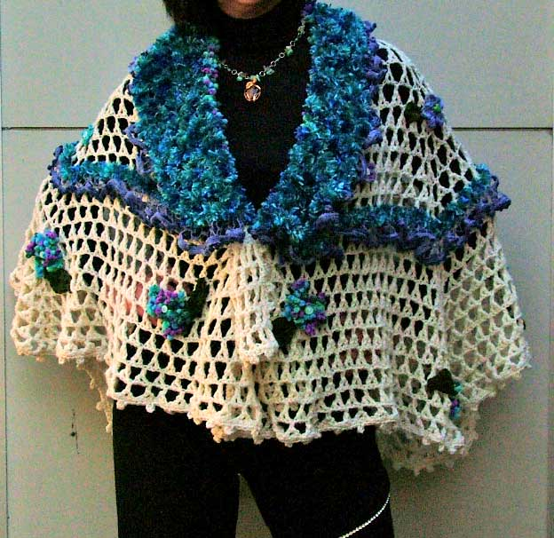 handmade flower crochet shawl
