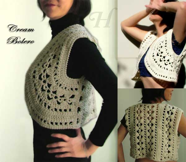 Cream Bolero - crochet style top