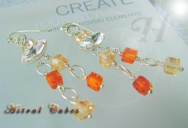 Astral Cube Swarovski Handmade Earrings