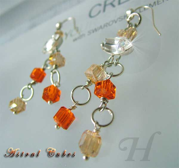 Astral Cube Swarovski Handmade Earrings