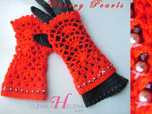 Beaded Crochet Fingerless Gloves
