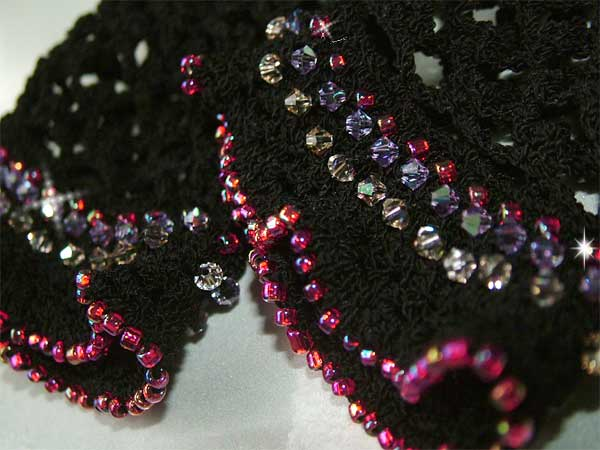 Beaded Crochet Fingerless Gloves