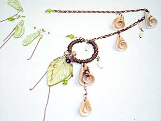 necklace with half-drilled beads