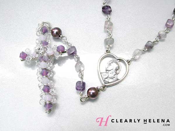 Handmade gemstone Swarovski rosary