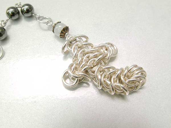 chain maille rosary cross