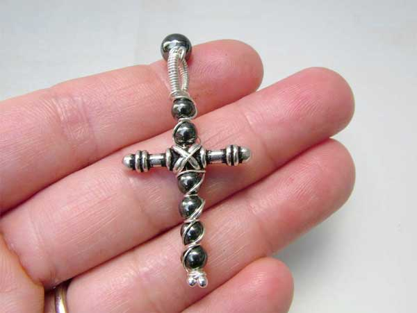 beaded rosary cross