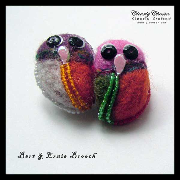 Bert and Ernie felted brooch