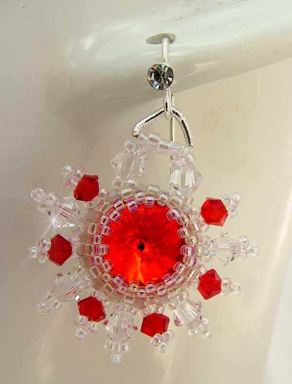 Red Sun earrings with Swarovski Rivoli