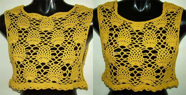 Beaded Pineapple Open Crochet work crop top