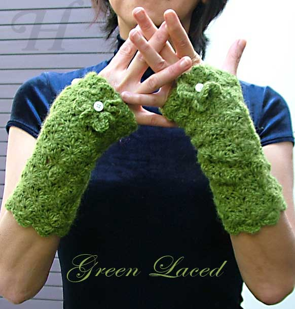 Green Laced Crochet Fingerless Gloves Hand Warmers
