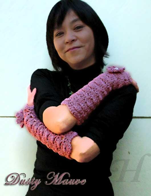 Dusty Mauve Crochet Fingerless Gloves Hand Warmers