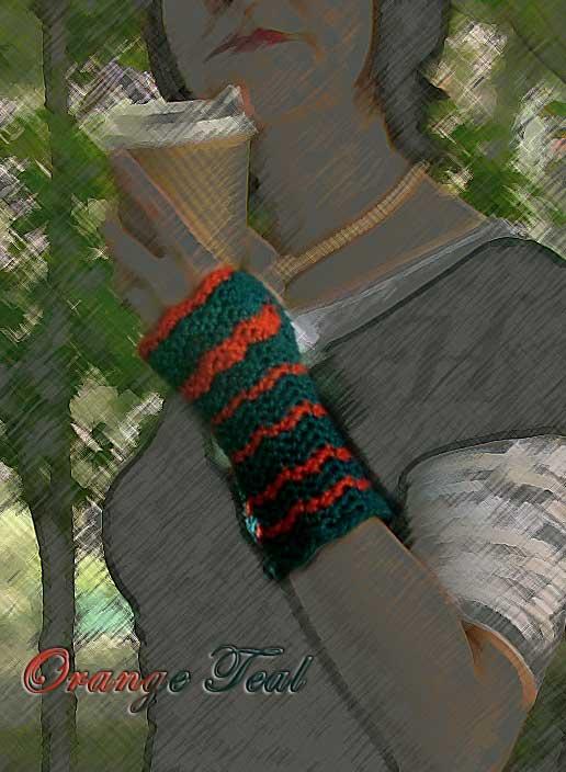 Orange Teal Crochet Fingerless Gloves Hand Warmers