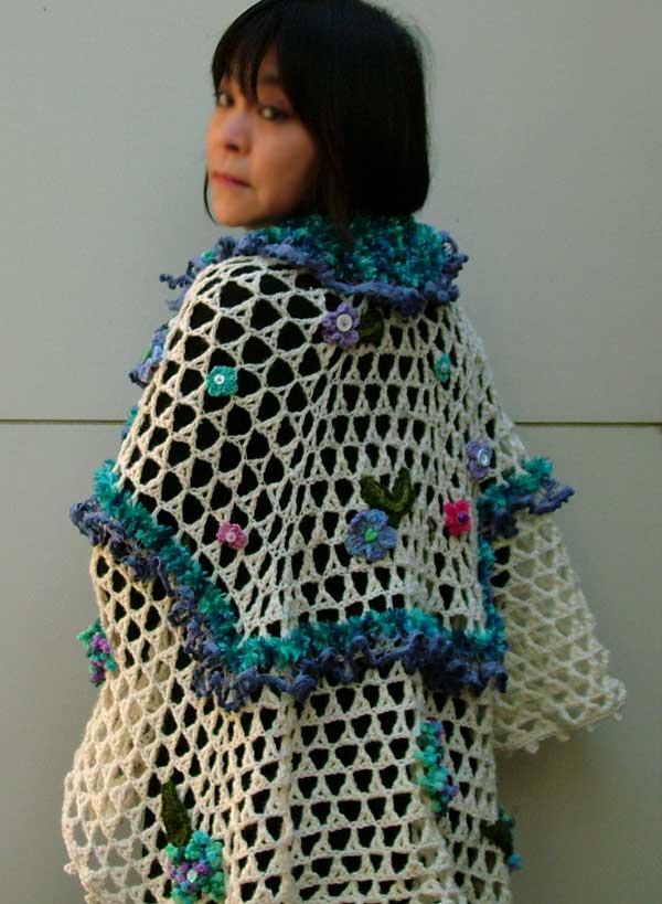 handmade flower crochet shawl