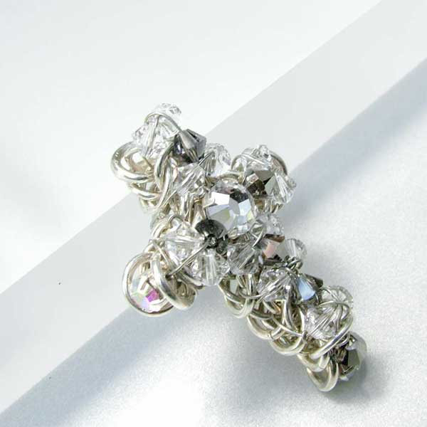 chain maille wire wrapped rosary cross